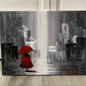 Wall art black white red Canvas acrylic paint NEW